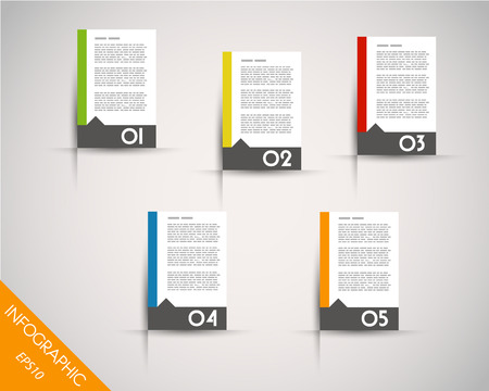 prospectus: colorful stickers with arrow. infographic concept.