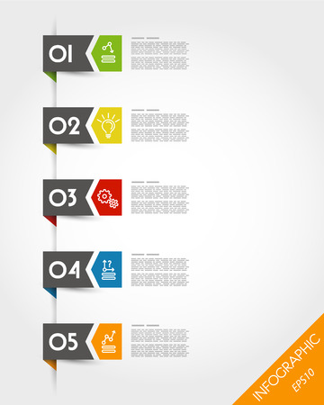 colorful stickers with arrow and number. infographic concept. Vector
