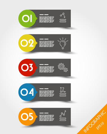 prospectus: colorful stickers with circle. infographic concept. Illustration