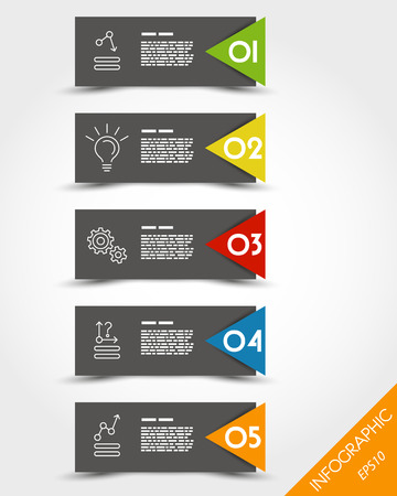 prospectus: colorful stickers with icons and big arrow. infographic concept. Illustration