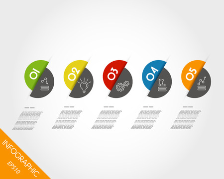 infpgraphic haplf ball stickers. infographic concept. Vector