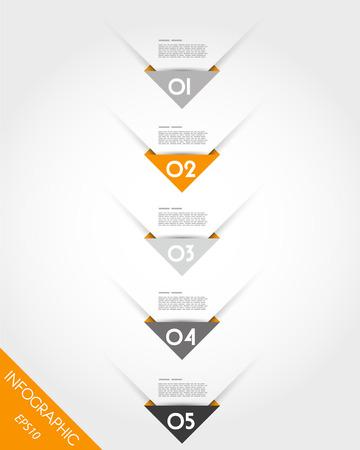 prospectus: orange origami triangular corner timeline. infographic concept. Illustration