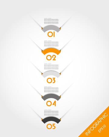 round corner: orange timeline template with round corner stickers. infographic concept.