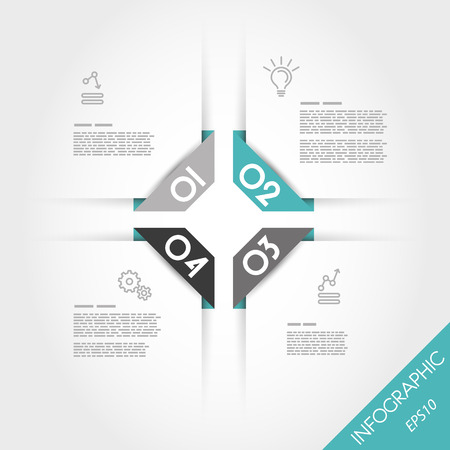four elements: turquoise infographic rectangular corner template with four elements. infographic concept.
