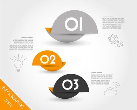 three orange: three orange rounded pointers. infographic concept. Illustration