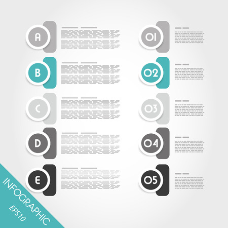pamphlet: turquoise infographic circles with numbers and letters. infographic concept.