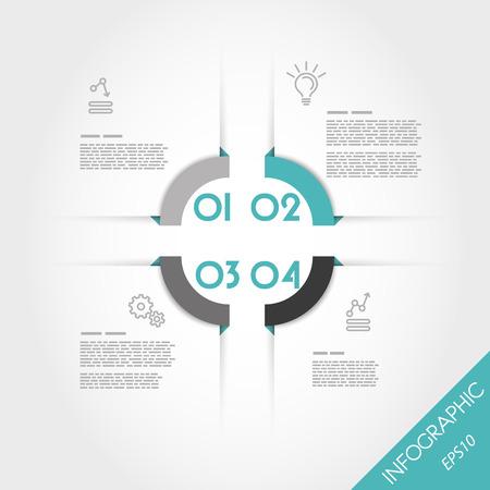 four elements: turquoise infographic corner template with four elements. infographic concept.