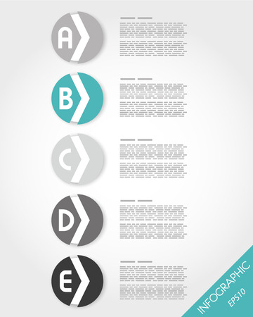 turquoise rounded stickers with arrow. infographic concept. Vector