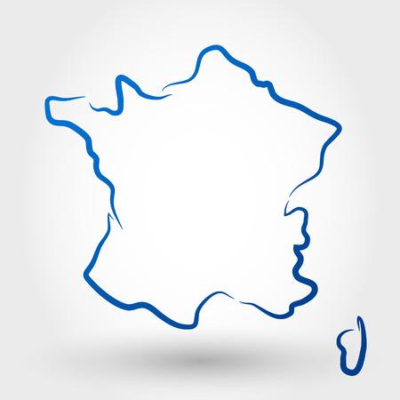 francia: mapa de Francia. mapa conceptual Vectores