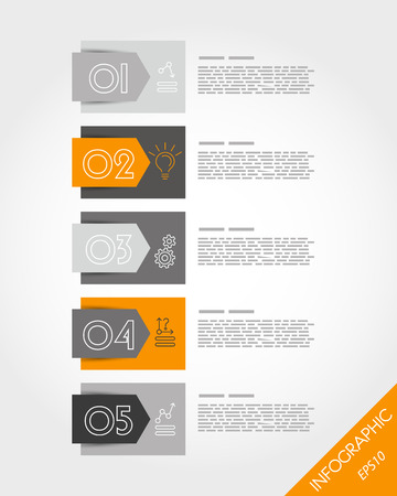 orange stickers with arrow and icons. infographic concept. Vector