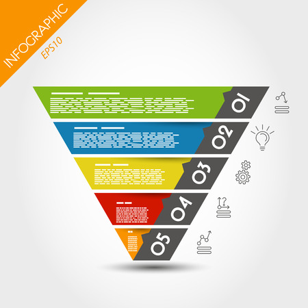 reversed: colorful infographic reversed pyramid. infographic concept.