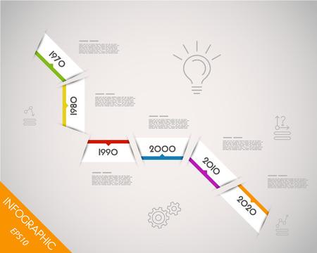 colorful oblique long timeline. infographic concept. Vector