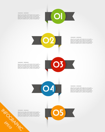 colorful origami timeline with ribbons. infographic concept. Vector
