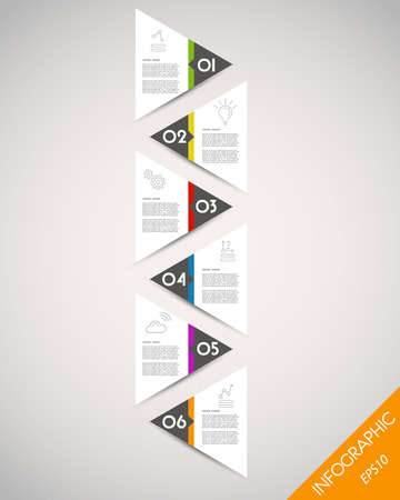 prospectus: colorful tall timeline from triangulars. infographic concept.