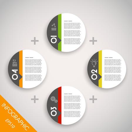 concepto: cuatro anillos de colores infogr�ficos. concepto infograf�a.