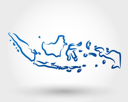 インドネシアのマップ。マップの概念  イラスト・ベクター素材