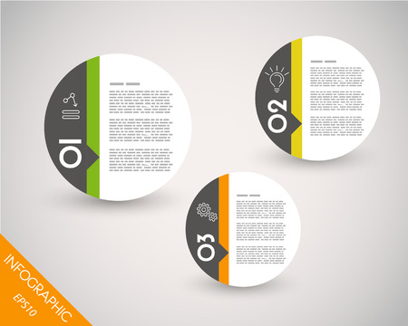 three pointer: three colorful infographic balls. infographic concept. Illustration