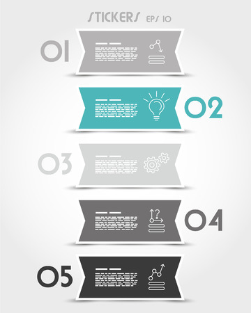 turquoise ribbon modern stickers with icons. infographic concept. Vector