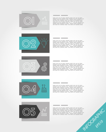 turquoise stickers with arrow and icons. infographic concept. Vector