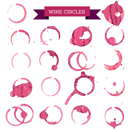 bebiendo vino: círculos de vino tinto, el concepto de vinos Vectores