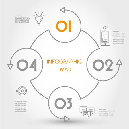 cuatro elementos: concepto infografía círculo. concepto de infografía.