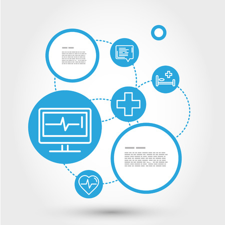 healthcare circle concept with EKG, medical concept Vector