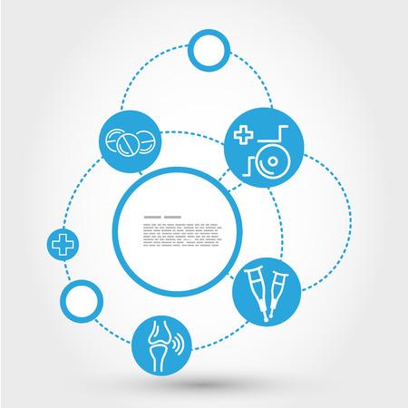 healthcare circle concept with wheelchair, medical concept Vector