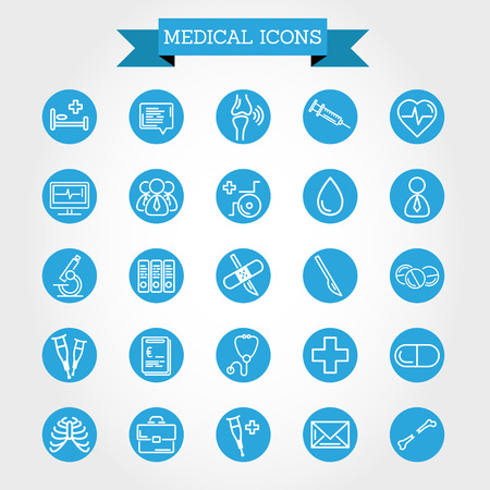 crutches: medical icons in circle, medical concept Illustration