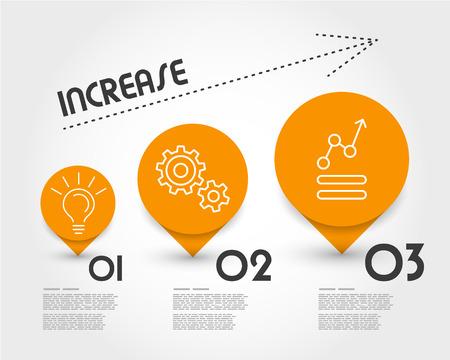 incremento: naranja aumento infografía. concepto de infografía. Vectores