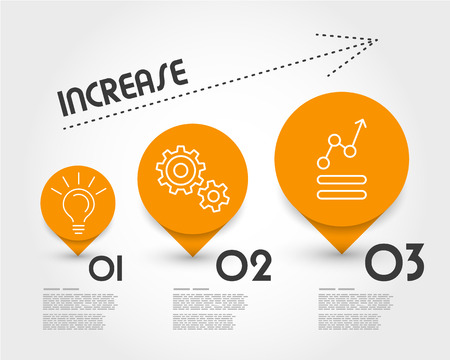 increase: orange increase infographic. infographic concept.