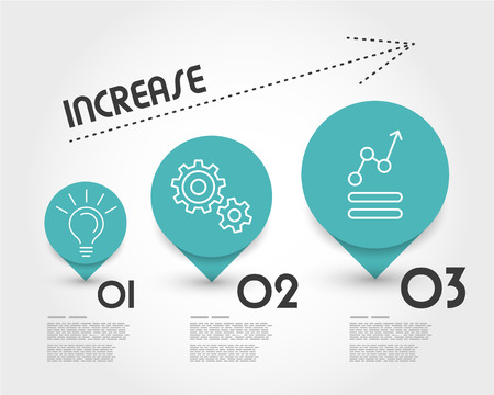 increase: turquoise increase infographic. infographic concept.