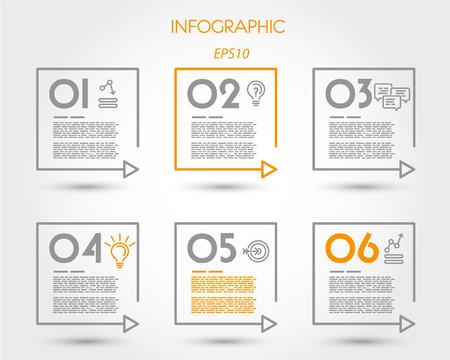 lineaire vierkante tijdlijn elementen. infographic concept.
