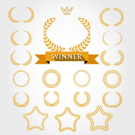 Couronnes de laurier, le concept de laurier d'or Banque d'images - 41031144