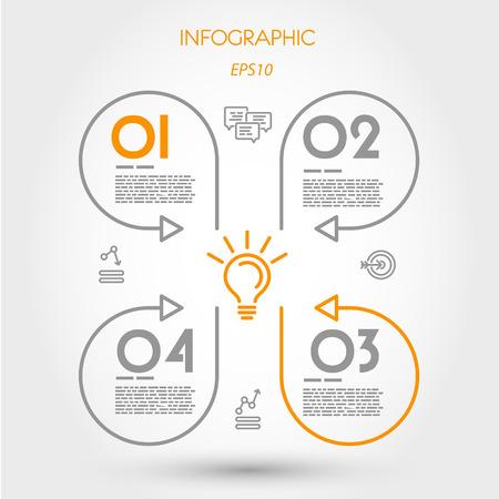 cloverleaf: infographic linear cloverleaf. infographic concept. Illustration