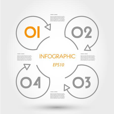 curvas: infografía lineales cuatro anillos. concepto de infografía.