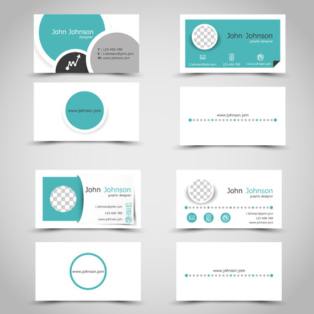 turquoise business cards. infographic concept.