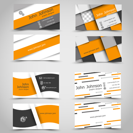 orange business cards. infographic concept.
