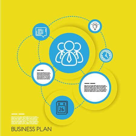 info graphic: yellow template of business plan with icons. infographic concept.