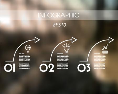 arcs: three white arcs. infographic concept.