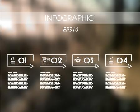 cuatro elementos: blanco infografía lineal rectangular con cuatro pasos. concepto de infografía. Vectores