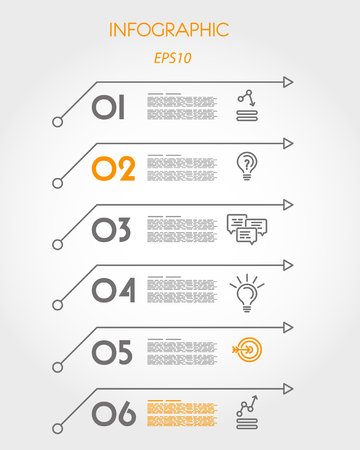 six: six linear infographic arrows. infographic concept. Illustration