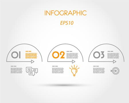 three orange: linear infographic arcs with icons. infographic concept.