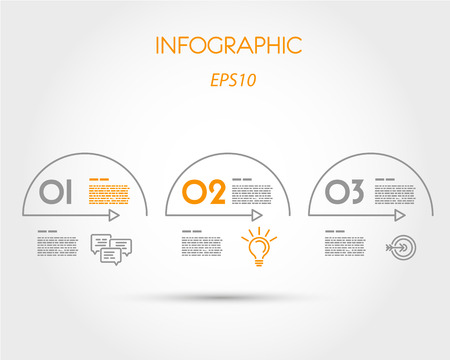 linear infographic arcs with icons. infographic concept.