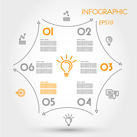 prospectus: linear infographic hexagon with arrows. infographic concept.