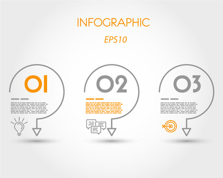 minimalistic: linear infographic three hooks. infographic concept. Illustration