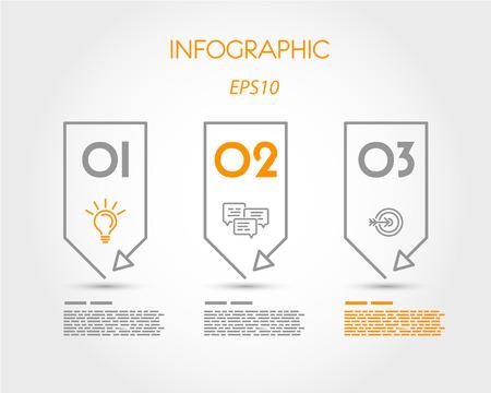 three orange: linear infographic three stickers. infographic concept.