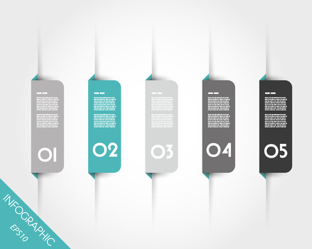 five elements: turquoise origami rounded square bookmarks. infographic concept.