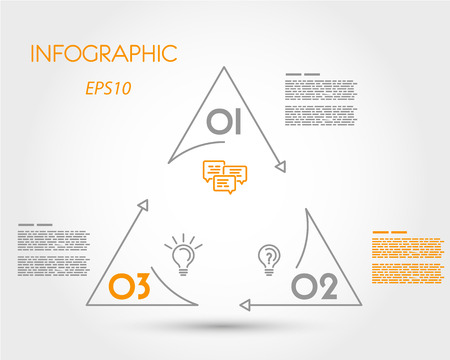 linear infographic triangle with circle. infographic concept.