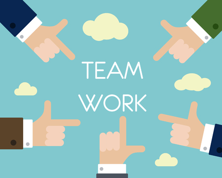 team hands: team work with hands. business concept.