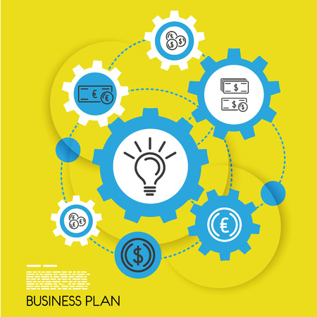 business gears: yellow template of business plan with gears. infographic concept.